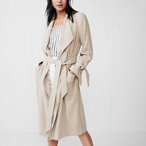 NWT Express Light Khaki Soft Drape Trench Coat